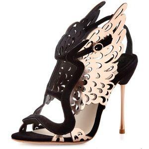 Sophia Webster gold and black winged heels 👠